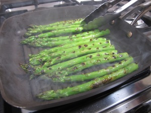 more asparagus - in the griddle pan 23-5-13