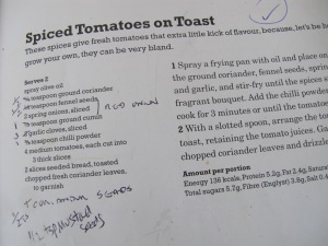 spiced tomatoes on toast - recipe 21-5-13
