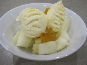 melon and pineapple conserve - with ice cream 5-8-13