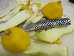 melon sorbet - melon and lemon peelings 19-8-13