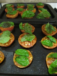 roasted tomato salad - baking tray 9-8-13