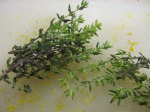 thyme & lemon zest for topping 23-8-13