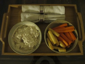 tray of dips and crudites 25-8-13