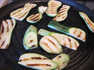 courgettes in griddle pan 6-10-13