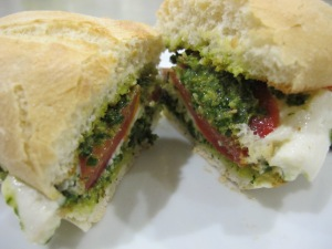 pesto sandwich - cut open 8-10-13