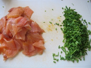 smoked salmon and chopped chives 14-10-13