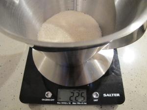 weighing the sugar 3-12-13