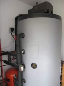 solar water tank in boiler room 1-5-13