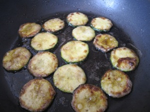 courgette - frying for the topping 9-3-14