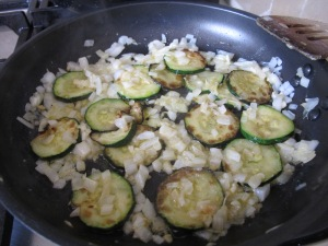 courgettes and onions - frying in pan 9-3-14