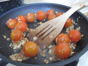 tomatoes & onions in the pan 5-3-14