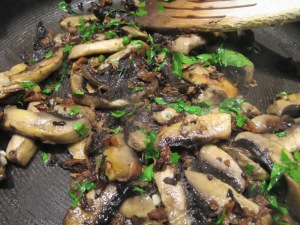mushrooms x 2 & parsley in pan 9-4-14