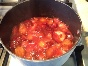 plums - softening in the pan 20-7-14