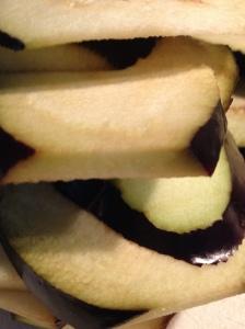 stack of aubergine slices  9-8-14