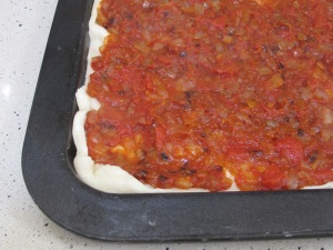 tomato and onion mix added to tart 19-10-14