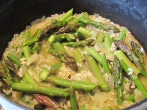 add asparagus to the rice 6-4-15