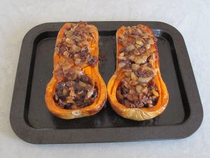 butternut, stuffed & ready for the oven again