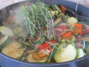 in the pan, add thyme, capers & balsamic