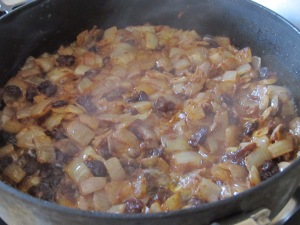 onions, sweetening in the pan