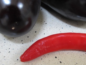 aubergines & red chilli