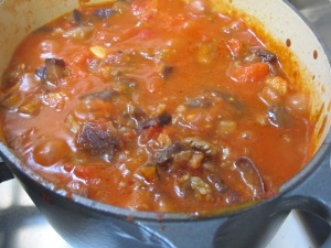 tomato sauce, aubergine added