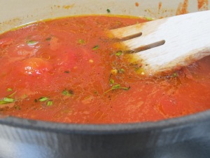 tomato sauce, water added