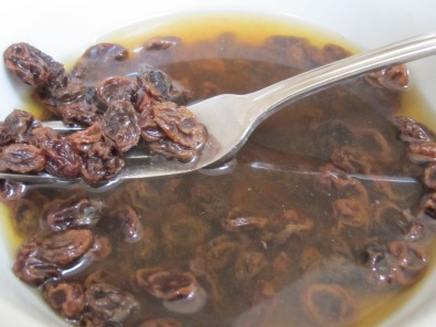 raisins, soaking