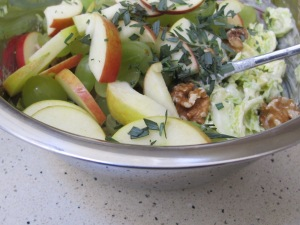 add-apple-tarragon-walnuts-grapes-to-salad