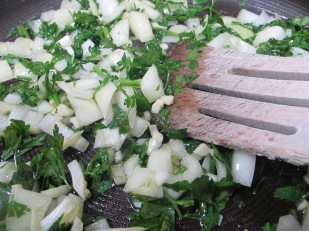 onions and parsley, cooking