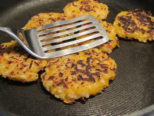 squash cakes, frying
