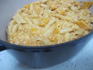 add pasta mixture to baking dish