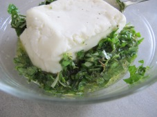 halloumi, cover with paste